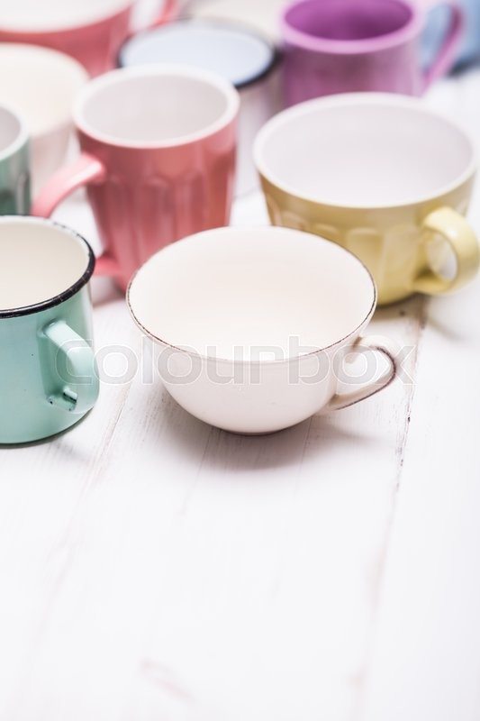 Stock image of 'The cups in shabby chic style, vintage colors'