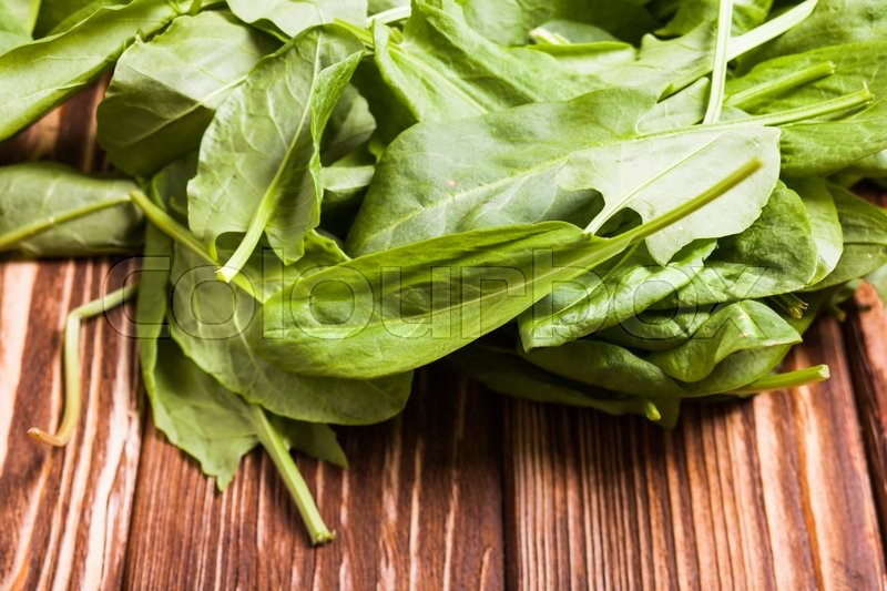 Stock image of 'Green whole sorrel leaves on the table'