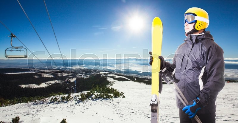 Stock image of 'Ski track in High Tatras mountains. Frosty sunny day'