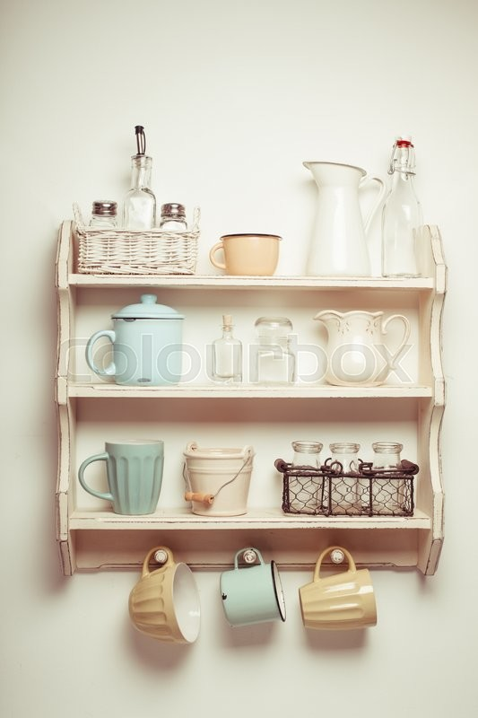 Stock image of 'Vintage shelf in the kitchen, shabby chic style, retro toned'