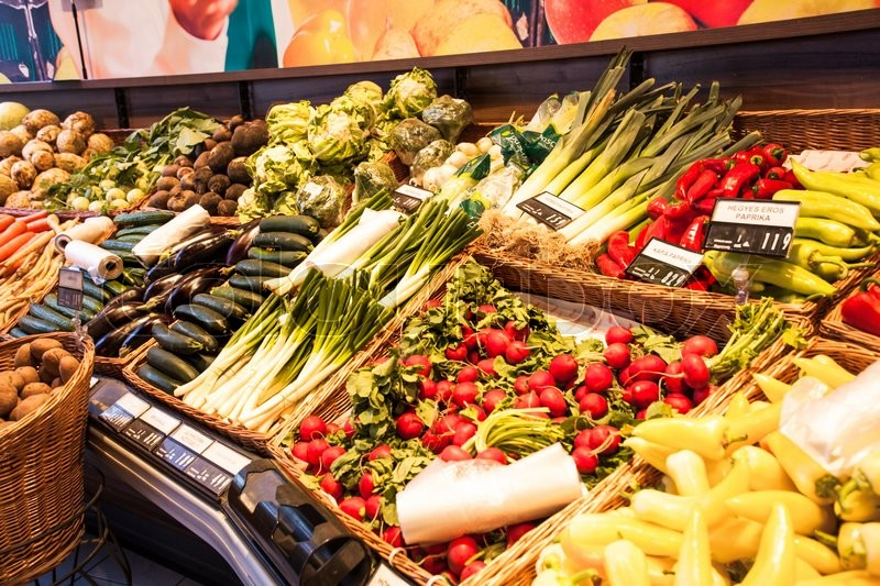Stock image of 'Fresh vegetables in the spring market, various veggie food'