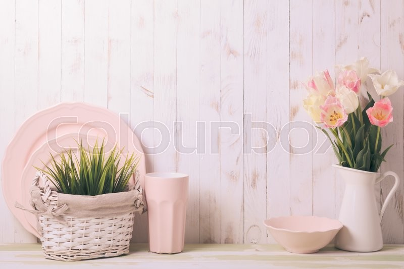 Stock image of 'Kitchen table top in rustic shabby chic style, pink decorations'