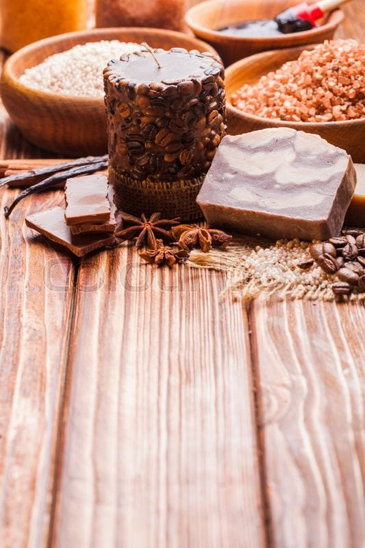 Stock image of 'Chocolate and coffee  spa - sea salt, handmade soap and bath pearls'