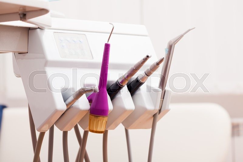 Stock image of 'Close-up equipment and special dental instruments in dentist's office'