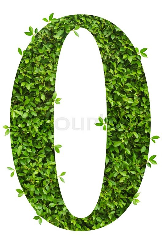 Stock image of 'number 0, alphabet of green leaves on white background'