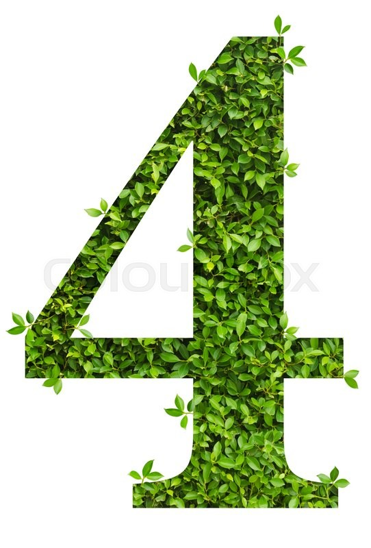 Stock image of 'number 4, alphabet of green leaves on white background'