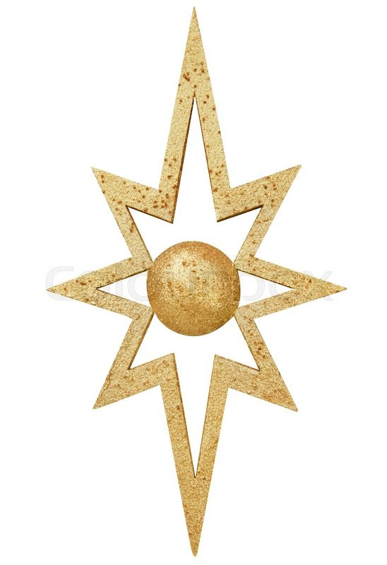Stock image of 'Gold star make from foam fabric'
