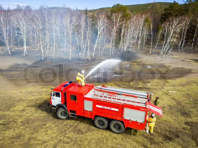 Stock image of 'A firefighter extingguish a fire in the forest with a water hose'