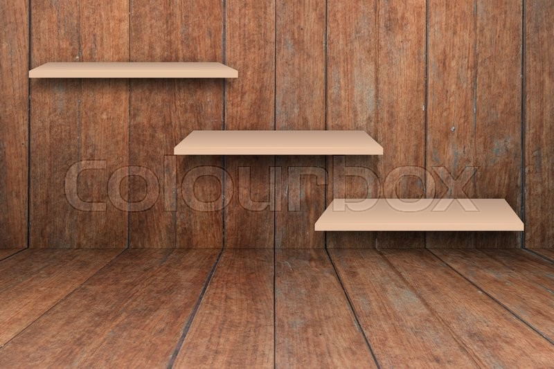 Stock image of 'Three brown shelves on wooden interior texture background, stock photo'