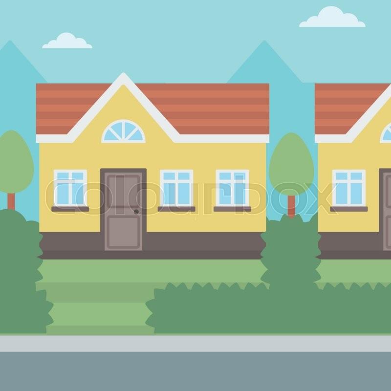 background of suburban house vector flat design illustration square