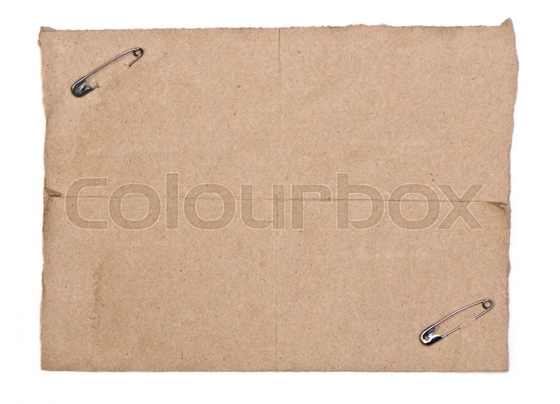Stock image of 'Recycle paper with silver pin isolate on white paper'