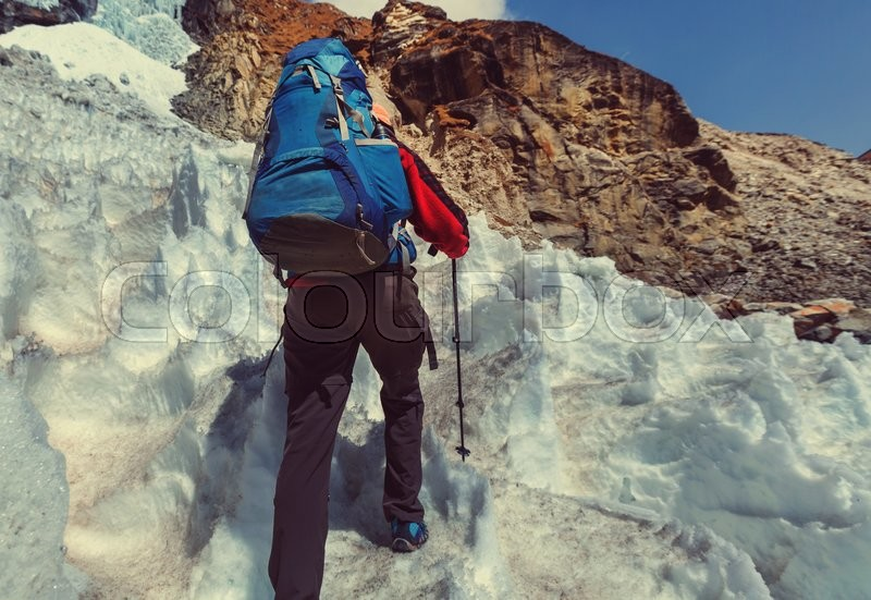 Stock image of 'Hiker in Himalayas mountain. Nepal'