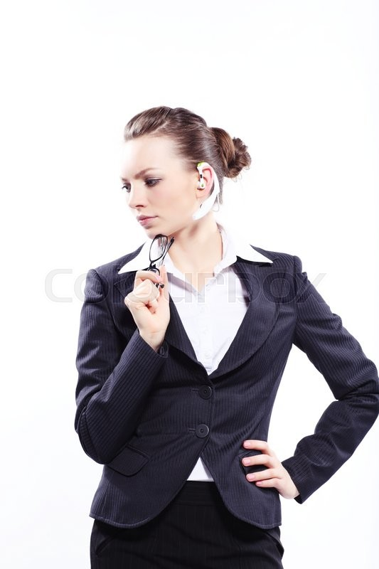 Stock image of 'Beautiful business woman in black classic business suit'
