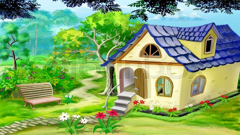 Digital painting of the village garden house in a summer for Digitally paint your house