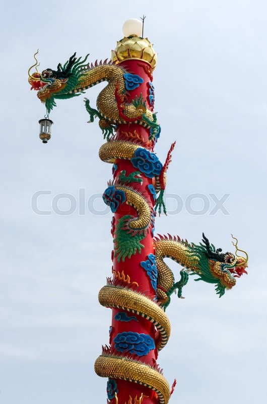Stock image of 'Dragon chinese sculpture.'