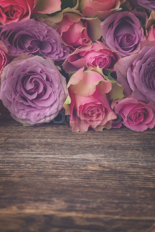 Stock image of ' pile of pink and violet  fresh roses on wooden background with copy space, retro toned'