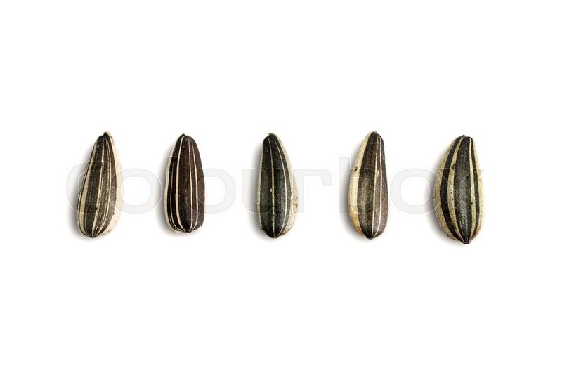 Stock image of 'Close up Sunflower seeds on white background.'