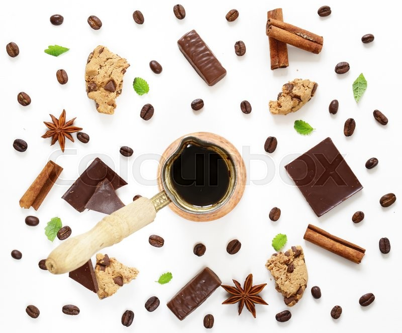 Stock image of 'Coffee pattern with dark chocolate, cinnamon, anise and cookies'