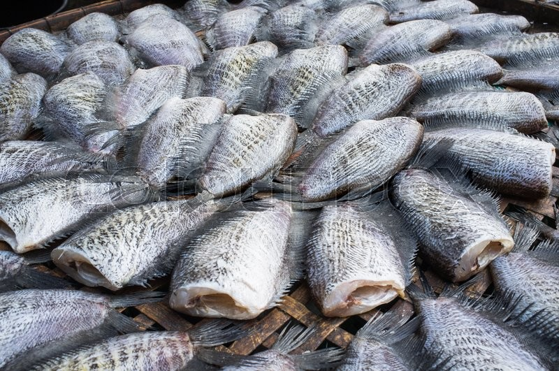 Stock image of 'Dried fishs of local food at open market Thailand'