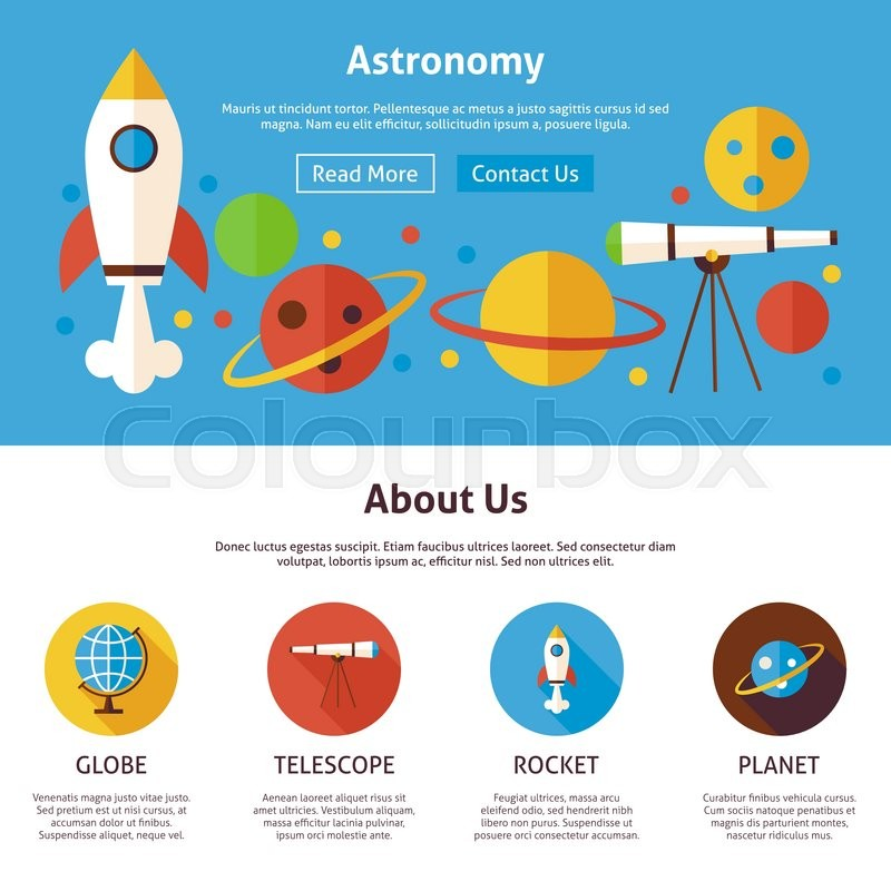 Astronomy Science Flat Web Design Template Vector Illustration For