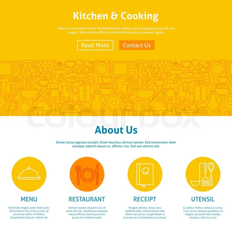 kitchen web design. Kitchen and Cooking Line Art Web Design Template  Vector Illustration for Website banner landing page Kitchenware Utensils with Icons Modern