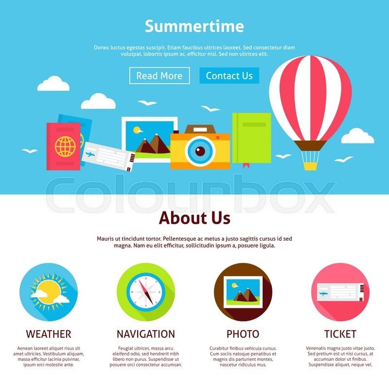 summertime flat web design template vector illustration for website