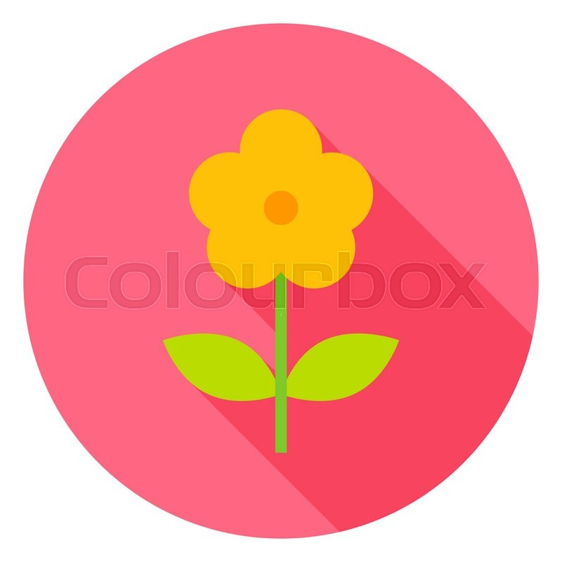 Yellow Flower Circle Icon Flat Design Stock Vector Colourbox
