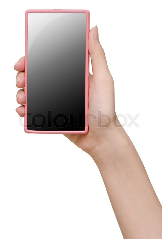 Stock image of 'Hand holding mobile smart phone with blank screen'