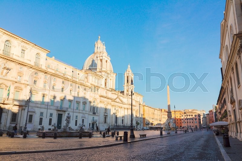 Stock image of 'view of famous Piazza Navona in Rome at morning, Italy'