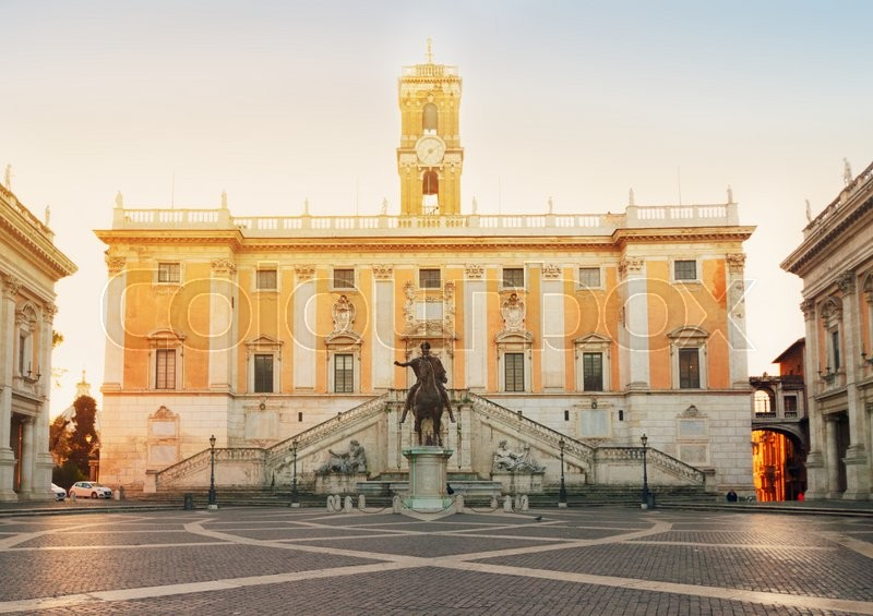 Editorial image of 'Campidoglio square at sunrise, Capitoline hill in Rome, Italy'