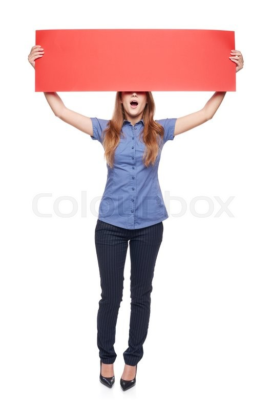 Stock image of 'Full length surprised woman with opened mouth holding red blank cardboard covering eyes, over white background'
