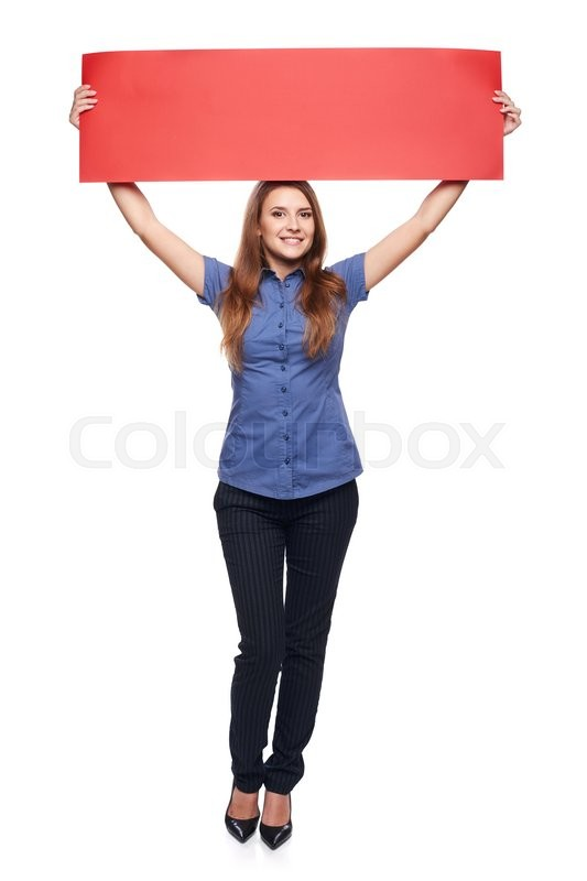 Stock image of 'Full length young woman holding horizontal red blank cardboard over head, over white background'