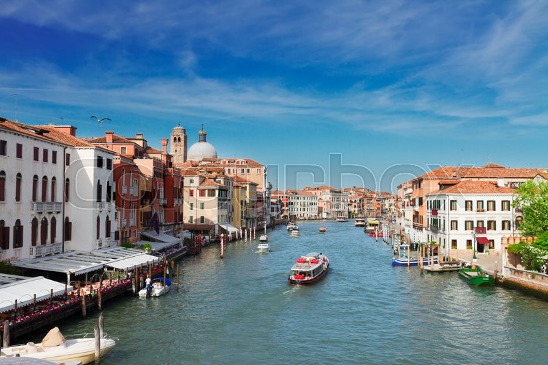 Stock image of 'cityscape of Venice - Grand canal with boats  at sunny day, Venice, Italy'