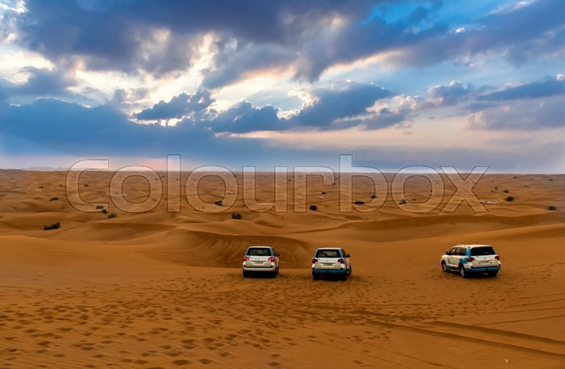 Stock image of 'DUBAI, UAE - FEBRUARY 01: Desert safari in Dubai, United Arab Emirates. Dune bashing by a 4x4 car is a very popular activity.'