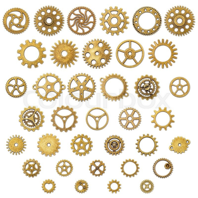 Stock image of 'Set of Vintage Mechanical Cogwheel Gears Wheels, isolated on white background'
