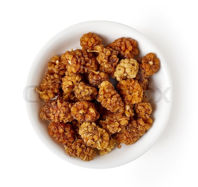 Stock image of 'Bowl of dried mulberry isolated on white background, top view'