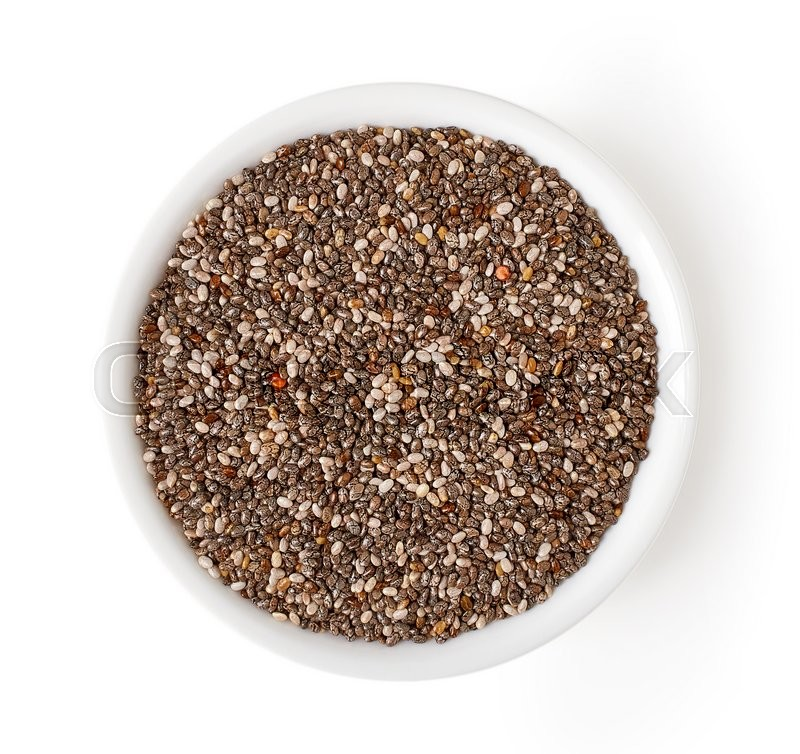 Stock image of 'Bowl of chia seeds isolated on white background, top view'