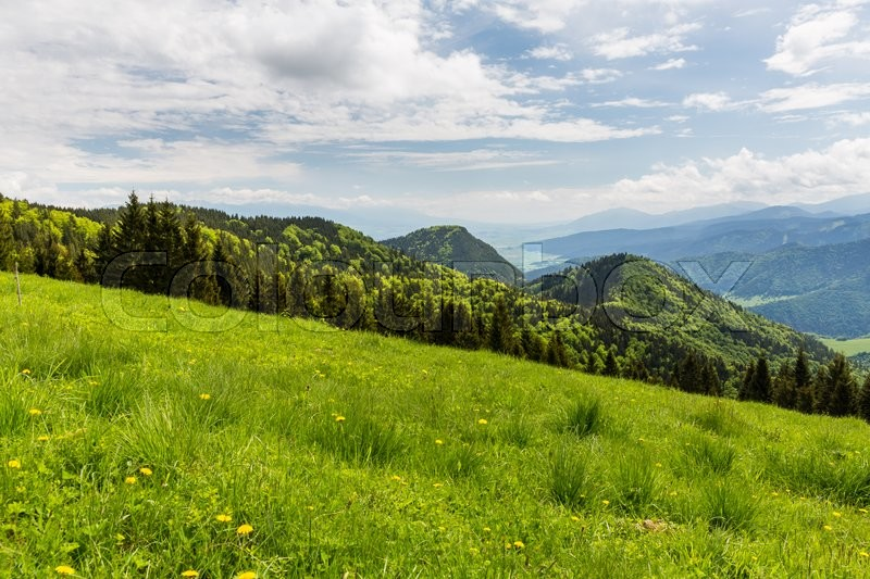 Stock image of 'View of nature Landscape along the cycling way from Malino Brdo to Revuce, Slovakia 2015'