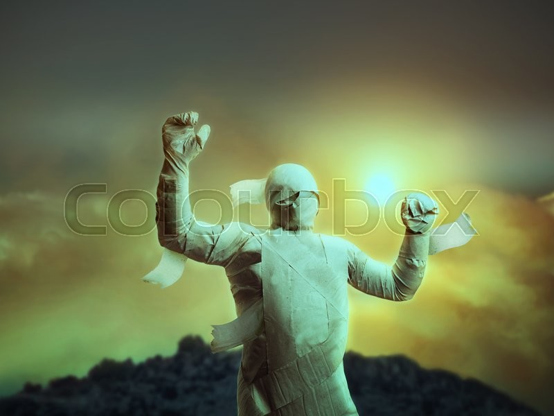 Stock image of 'Man in toilet paper over cloudy evening sky'