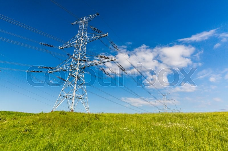 Stock image of 'View of a electrical tower in Slovakia in summer 2015'