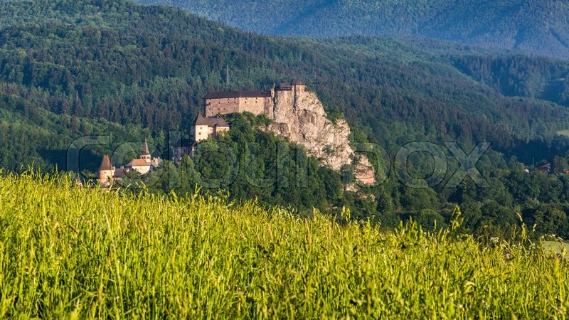 Stock image of 'Views of a beautiful castle Oravsky Podzamok in the morning near Dolny Kubin in Slovakia in summer 2015'