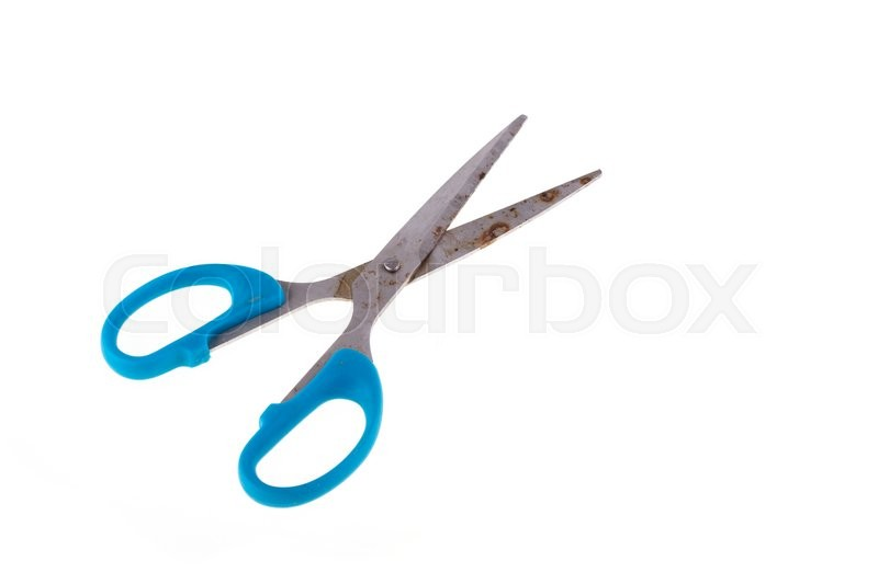 Stock image of 'blue scissors rusty isolated on white background'