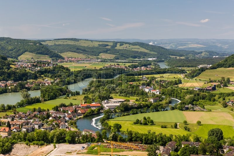 Stock image of 'View to the Water Castle, an area where tree big swiss rivers come together near Brugg, Aargau, Switzerland'