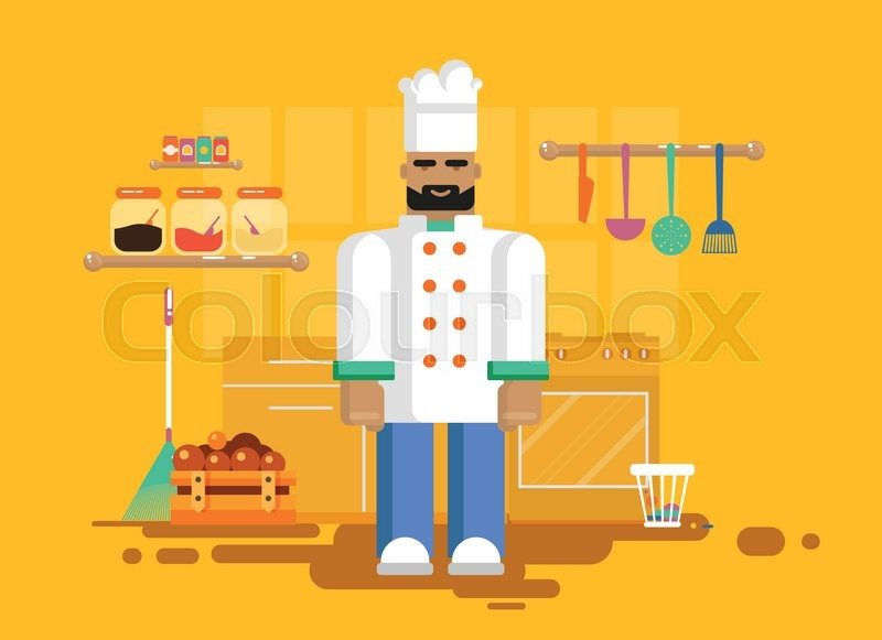 Chief Cooker Kitchen Of Restaurant, Cafe, Flat Style Element For Info  Graphic, Website, Game, Motion Design, Vector