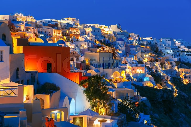 Old Town Of Oia On The Island Santorini White Houses And
