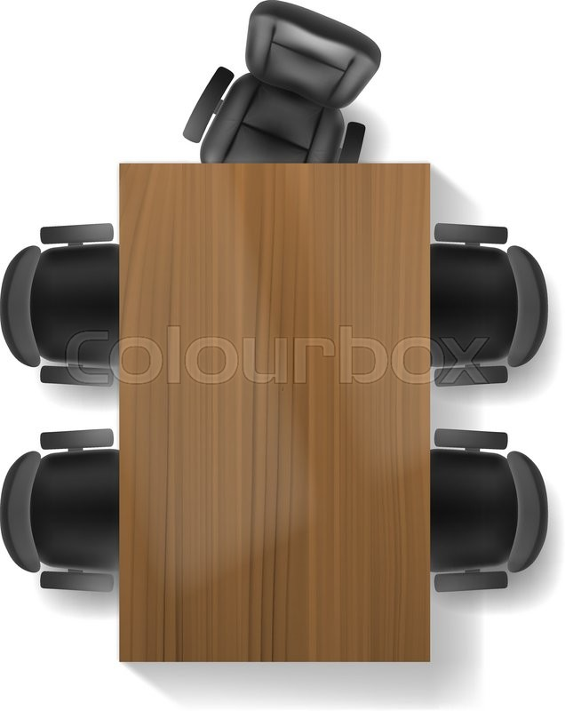 office table top. Office Chair And Table, Top View Vector Realistic, Isolated. Furniture For Office, Cabinet Or Conference Room Plan, Table