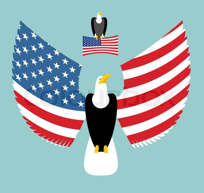 American Eagle Most Powerful Bird And Us Flag Emblem For America