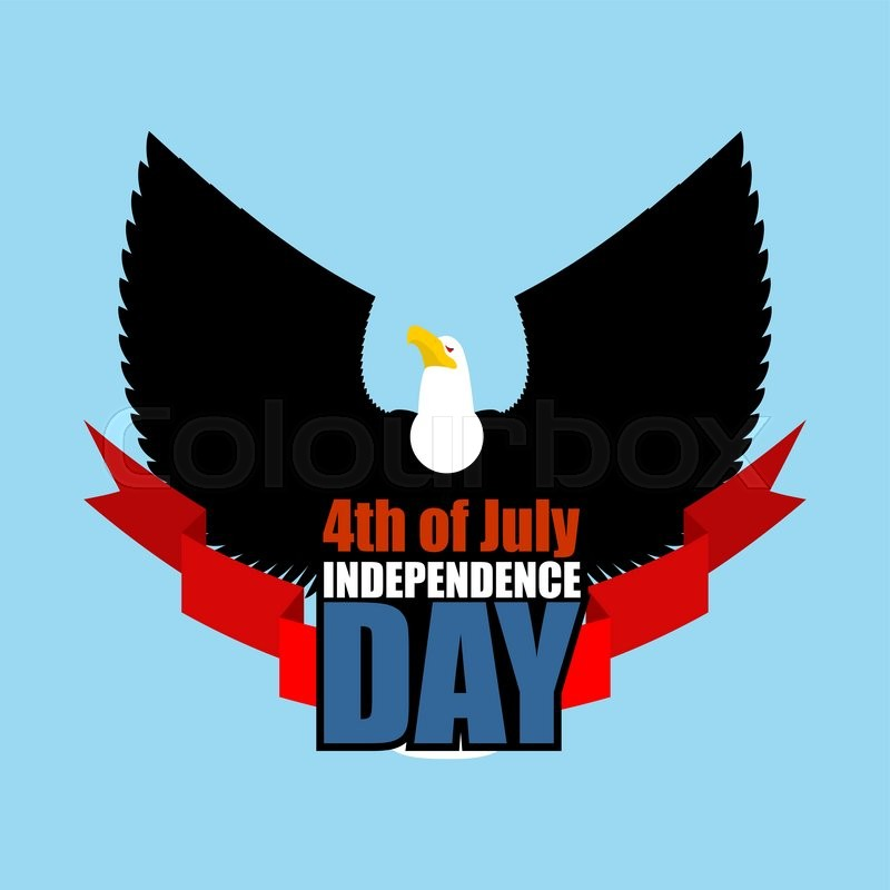 Symbol of Independence Day of America flying eagle. Bird predator with wings and red ribbon. National holiday in USA on July 4 , vector
