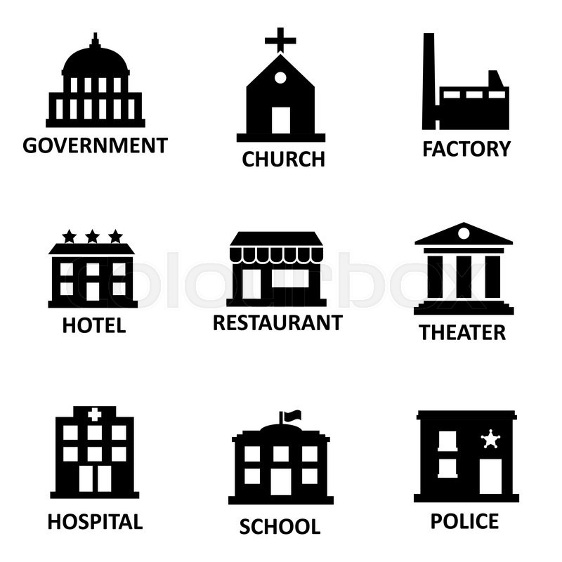 Vector Black Government Building Icons Set On White Bacground