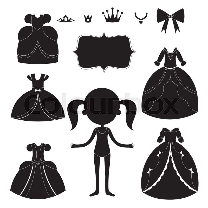Princess Dress Silhouettes Set. Cartoon Black And White